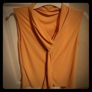 Tops - Mustard yellow sleeveless blouse w/ knot tie front